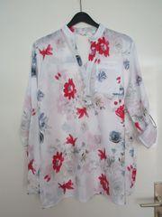 Damen- Bluse weiß mit Blumenmuster