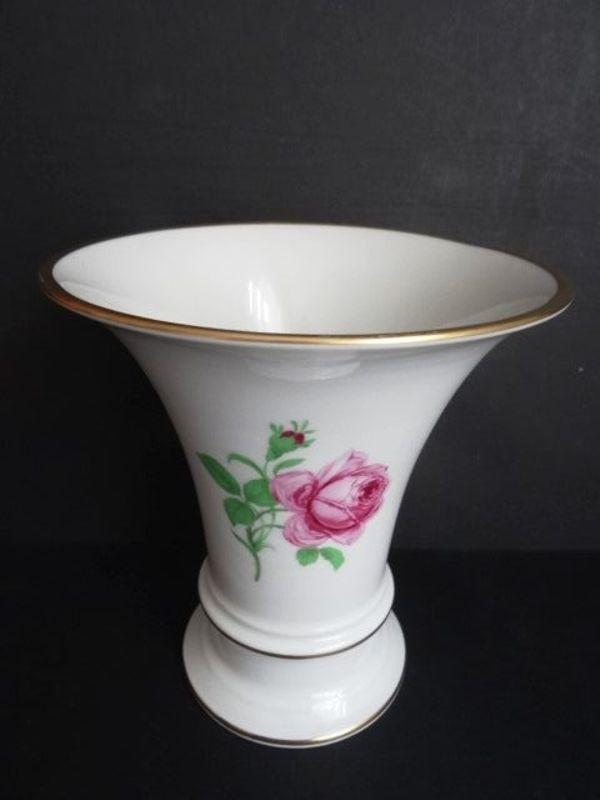 Fürstenberg Vase Trichtervase weiß mit Rose und Goldrand in ...