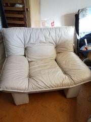 Echt-Leder Couch-Sessel weiss