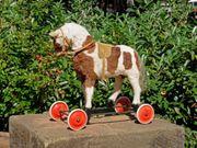 Antik-Spielzeug Roll-Räder-Pferd Echtfell Schaukel-Pferdchen