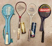 1x Badminton-Schläger 3x Squash-Schläger