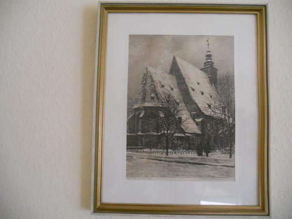 Original Radierung Kath Kirche Lichtenberger