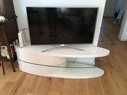 TV Tisch oval Hochglanz weiß