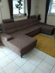U Sofa Couch Wohnlandschaft braun