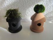 Verkaufe bepflanzte Hütten aus Keramik