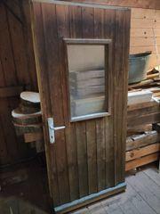 Verschenke Holztür mit Glaseinsatz