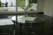 Couch-Tisch aus Glas und Chrom