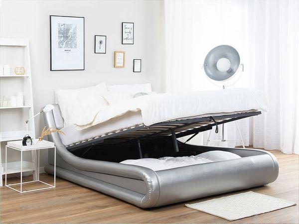 Bett Kunstleder Silber mit Bettkasten