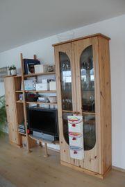 Wohnzimmer Schrankwand aus Vollholz Buche