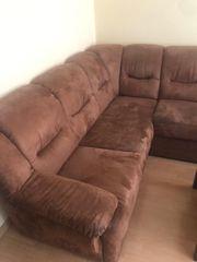 braune Wohnlandschaft Couch mit Schlaffunktion