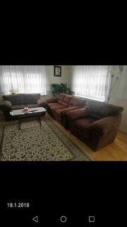 Sofa-Set braun 3-teilig