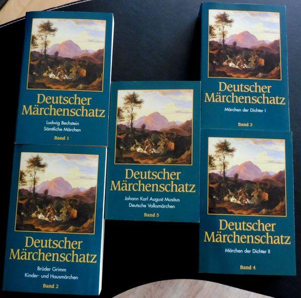 5x Buch DEUTSCHER MÄRCHENSCHATZ Sagen Volksmärchen Band 1-5 mit Illustrationen