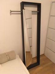 Garderobe Holz dunkelbraun Edelstahlstange Spiegel