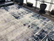 Hochwertiger gebrauchter Vintage Teppich blau-weiß