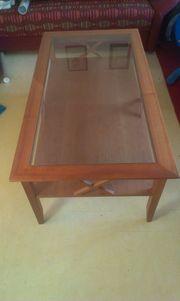 Massiver Kirschbaumholztisch mit Glasplatte