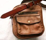 Schultertasche Echt Leder Handmade Einzelstück