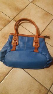Handtasche blau braun