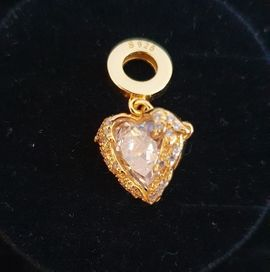 Schmuck, Brillen, Edelmetalle - Echt Silber vergoldet Charm Herz