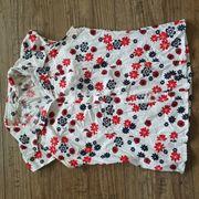 Bluse weiss mit Blumen rot