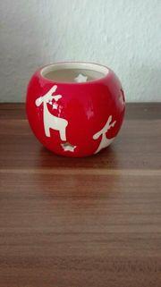 Teelichthalter Weihnachten Elch Rentier Rot