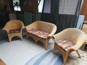 Korbmöbel - 2 Sessel und 2er