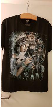 T-Shirt Wolf Indianer beidseitig bedruckt