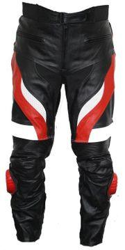 Motorradhose Rindsleder schwarz rot