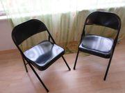 2 stabile Klapp-Stühle schwarz Stahlrohr