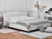 Bett Kunstleder weiß mit Bettkasten