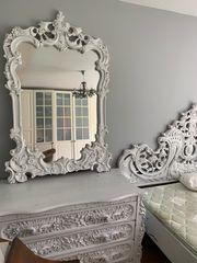 Bett-Kopfteil Schminktisch mit Spiegel und