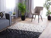 Teppich Leder schwarz-beige 140 x