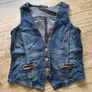 Weste blau braun Jeansstoff Gr