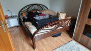 Bett Doppelbett Rattan Stil Echtholz