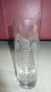Blumenvase Glasvase Glas mit Dekor