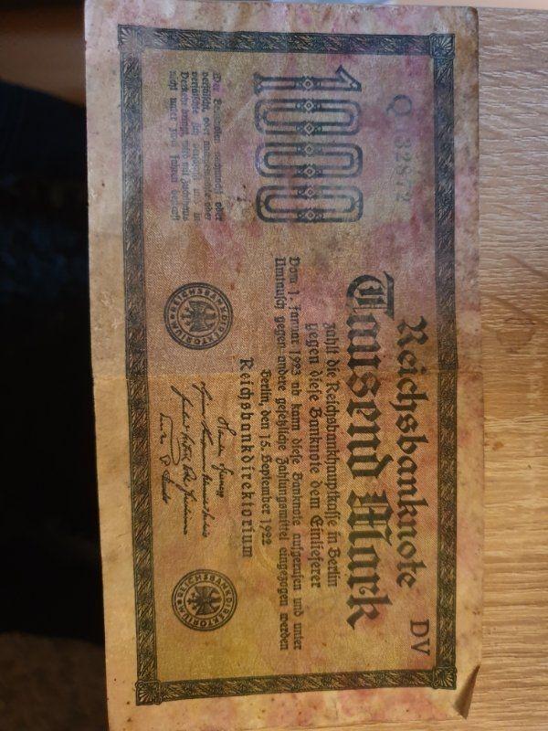 1000 Mark Reichsbanknote 1922 etwas