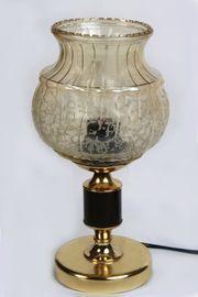 Tischlampe Messingfuß Glasschirm vintage DDR