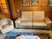 Relax-Ledersofa aus Trentinoleder mit passendem