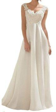 Brautkleid Lang Spitze Chiffon Hochzeitskleider