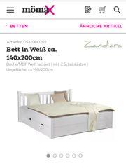 Bett inkl Schubkästen Lattenrost und