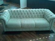 Chesterfield Sofa Couch Leder weiß