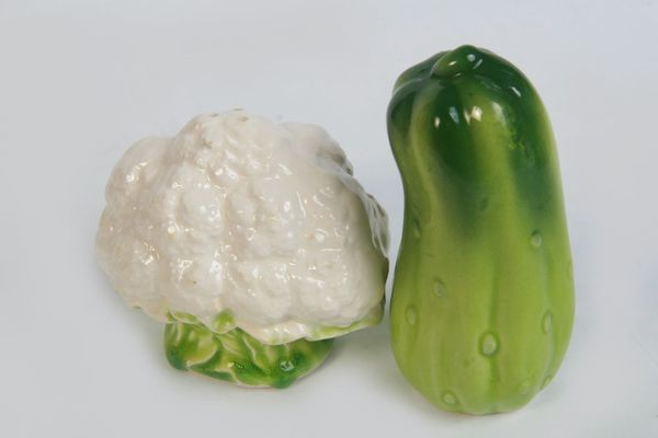 Salz-u Pfefferstreuer Set Keramik Gurke-Blumenkohl