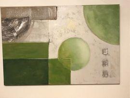 Schönes Wandbild mit Struktur, grün-weiß-silber