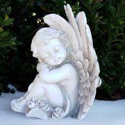 Träumende Engel Figur sitzend Grabschmuck