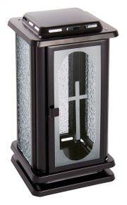 Grablaterne schwarz mit Kreuz Grablampe