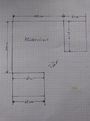 Schlafzimmereckschrank mit 2 Seitenteilen