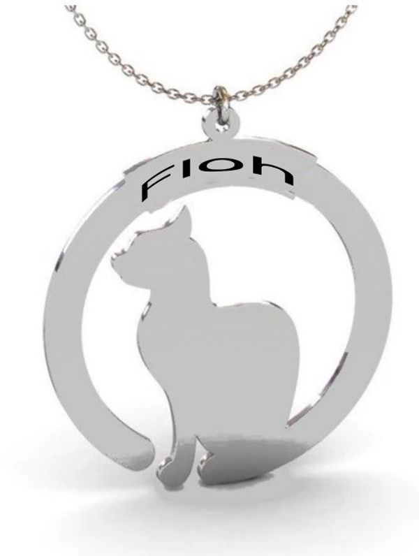 personalisierte Kette Katze mit Namen