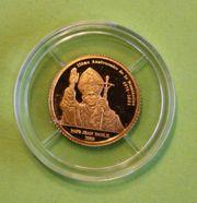Goldmünze Kongo 20 Francs Johannes