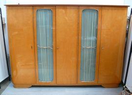 50er Kleiderschrank 5-türig, 2 Glastüren Ahorn Hochglanz, demontierbar Mid Century Modern