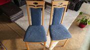 Esszimmer Stühle mit blauem Polster