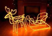 LED Rentierschlitten Rentier mit Schlitten